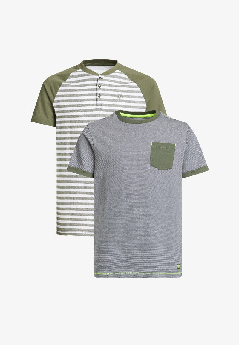 WE Fashion - MET STREEPDESSIN, 2-PACK - Print T-shirt - dark green