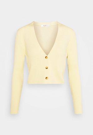 CROP CARDIGAN - Gilet - pale yellow