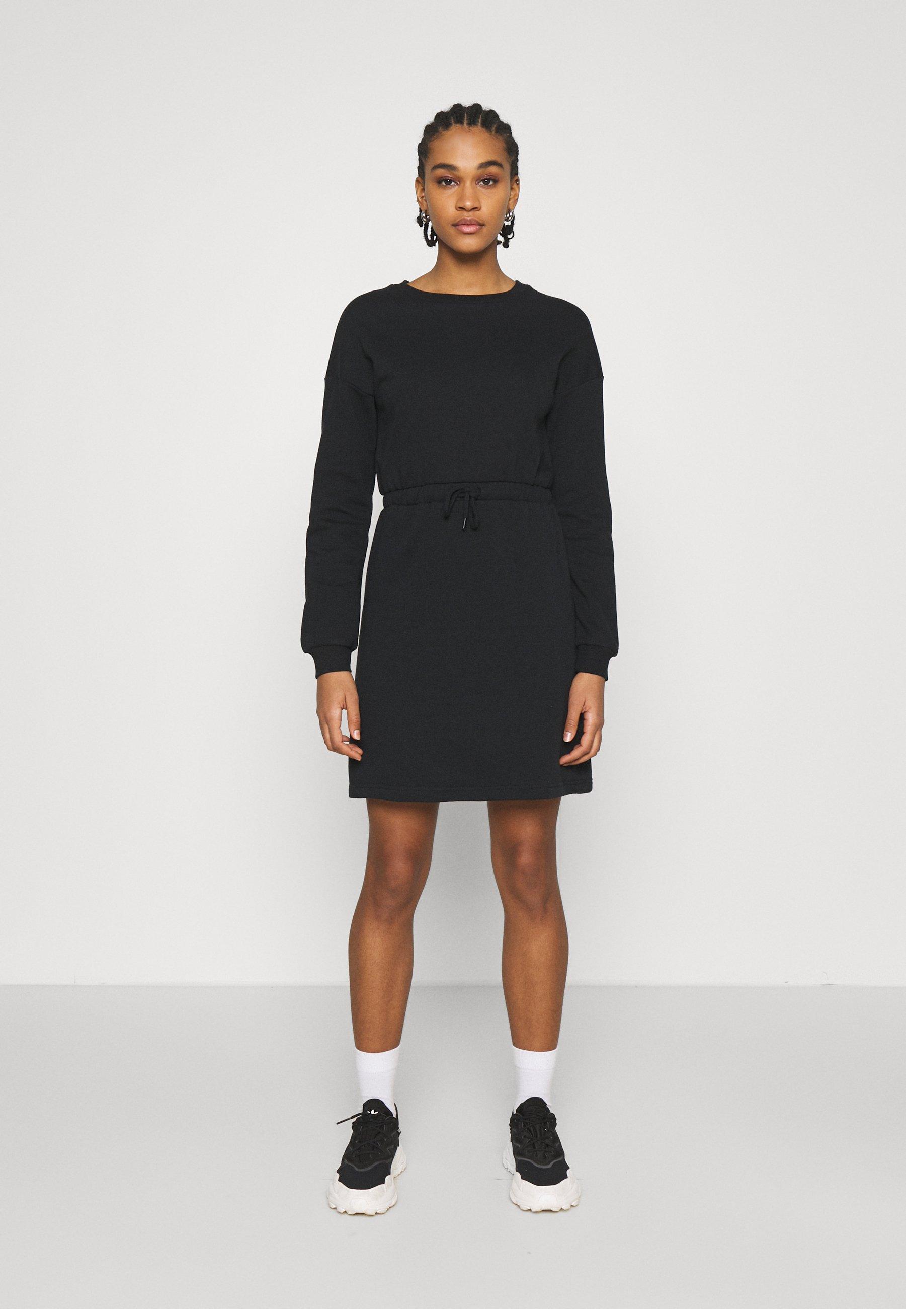 Women sweat mini drawstring waist dress - Day dress