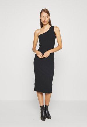 ONE SHOULDER - Shift dress - black