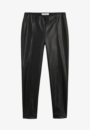 POLI - Leather trousers - black