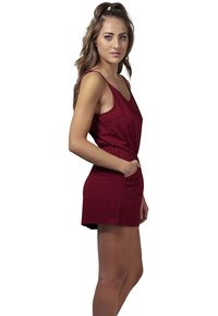 Urban Classics - LADIES SHORT SPAGHETTI - Jumpsuit - burgundy - 2