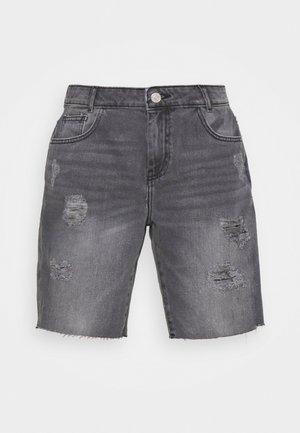 NMLUCKY LONGBOARDER - Denim shorts - black