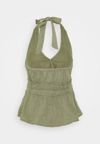 American Eagle - SMOCKED WAISTBAND HALTER - Camicetta - olive - 1