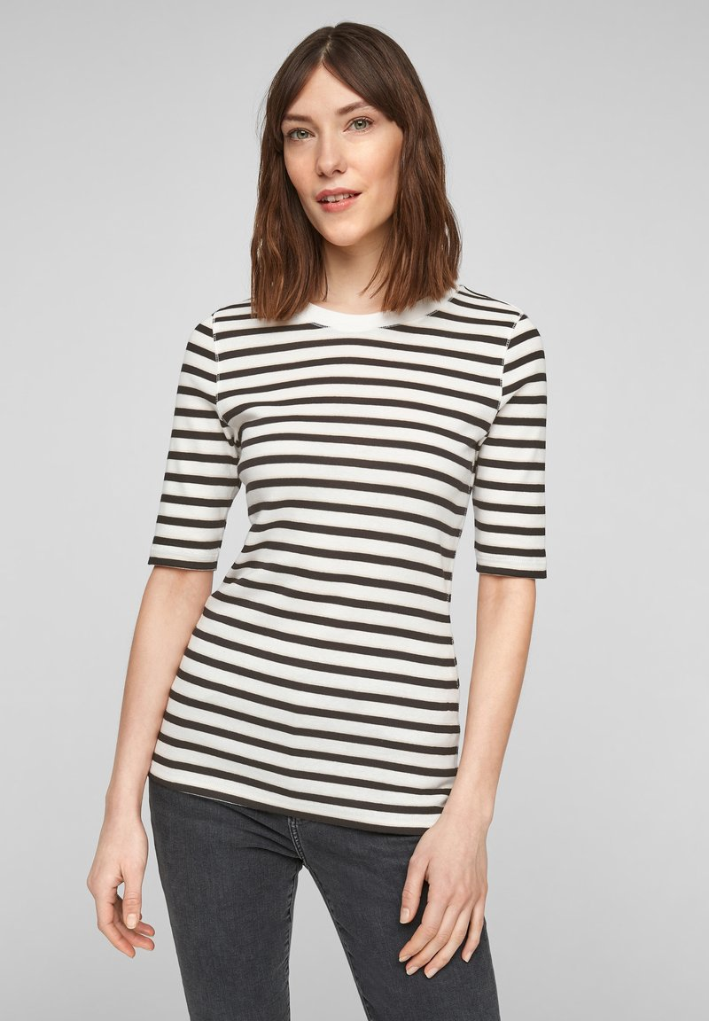 s.Oliver - Print T-shirt - offwhite stripes