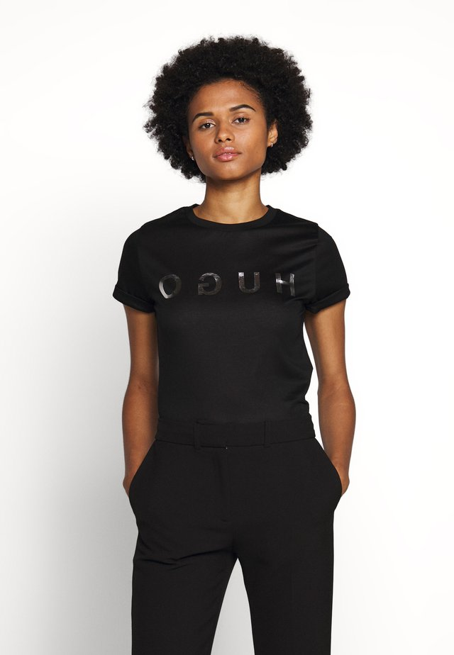 DENNA - Print T-shirt - black/silver