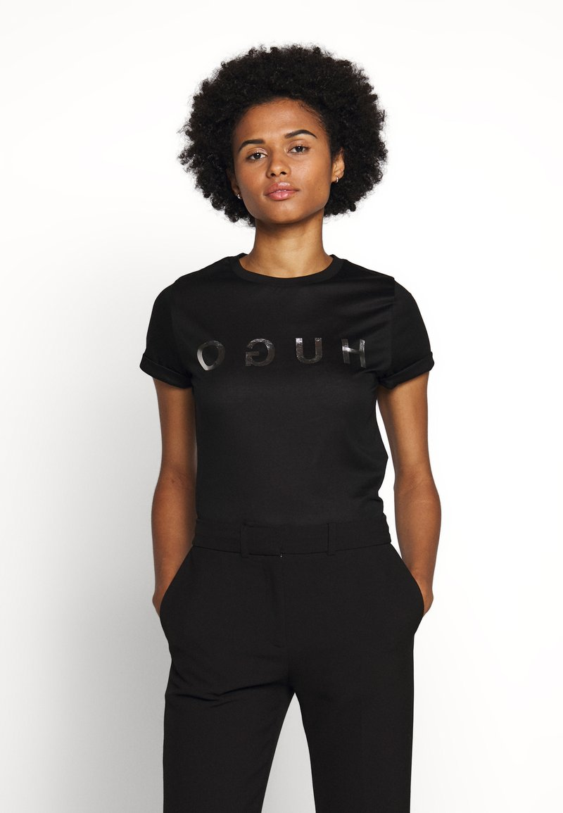 HUGO - DENNA - Camiseta estampada - black/silver