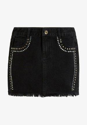 REGULAR FIT - Denim skirt - black