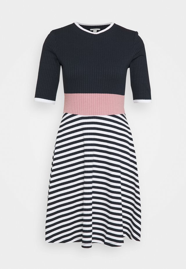 STRIPE DRESS - Strikket kjole - navy
