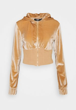 CROP HOODIE WITH EMBROIDERED LOGO ON HOOD - Zip-up sweatshirt - beige