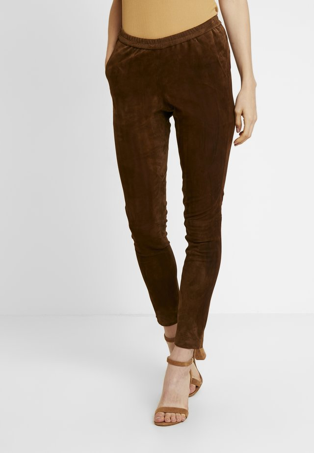 GALAPAGOS - Leather trousers - brown