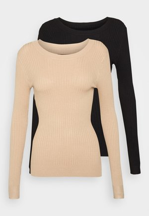 2 PACK - Strickpullover - black/sand