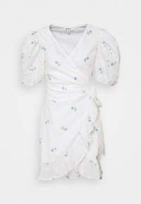 Missguided - FLORAL BRODERIE PUFF SLEEVE MINI DRESS - Kjole - white - 6
