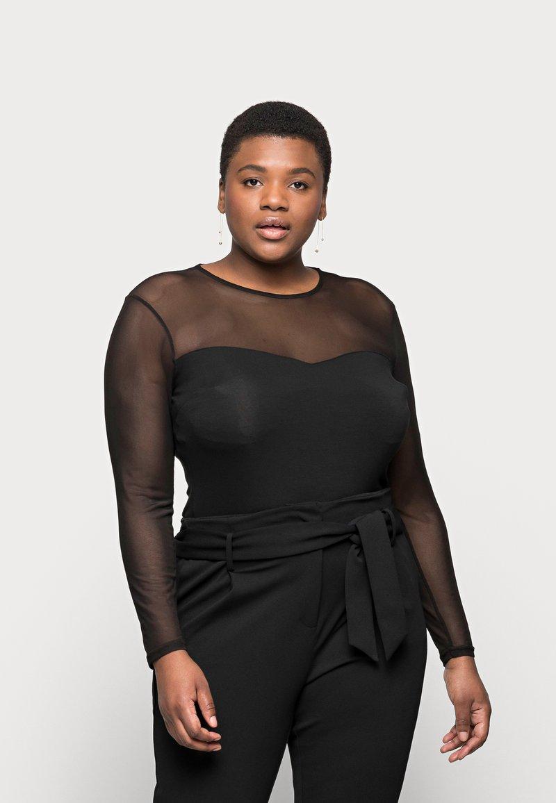 Even&Odd Curvy - MESH INSERT TOP - Long sleeved top - black