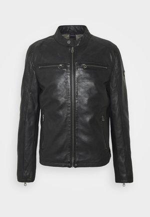 JON LANIV - Leather jacket - schwarz