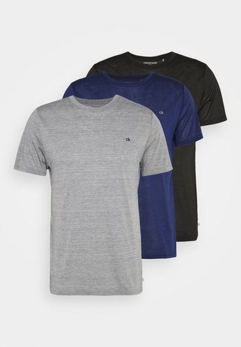 3 PACK - T-shirt - bas - black/navy/silver