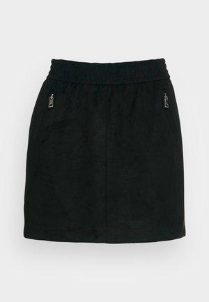 ONLPINZON FAUX SUEDE ZIP SKIRT - Minisvārki - black