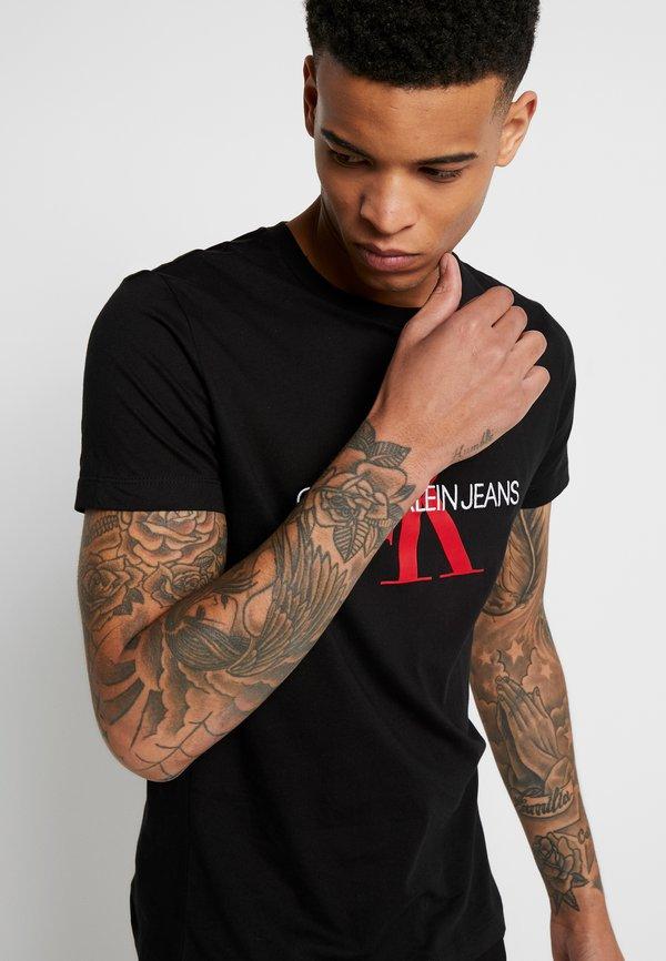 Calvin Klein Jeans MONOGRAM LOGO SLIM TEE - T-shirt z nadrukiem - black/racing red/czarny Odzież Męska XQYY