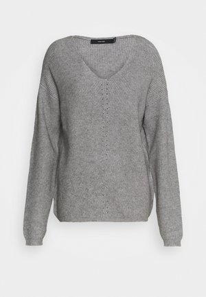 VMHOLLY V NECK  - Jumper - light grey melange