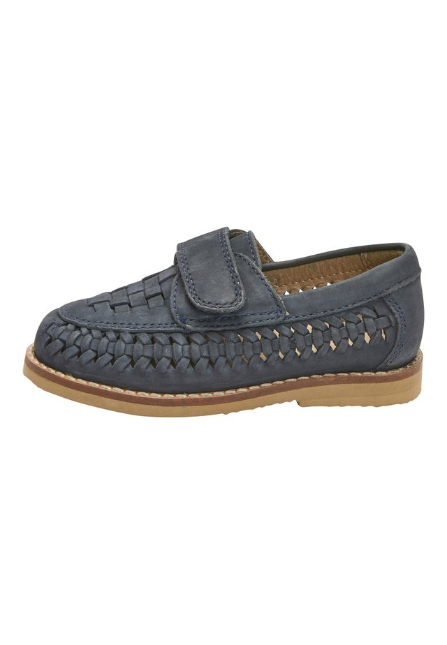 NAVY LEATHER WOVEN LOAFERS (YOUNGER) - Loafers - blue