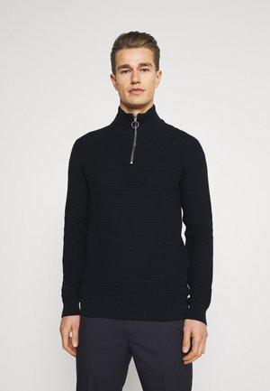 KASPER HALFZIP STRUCTURED - Stickad tröja - navy blazer