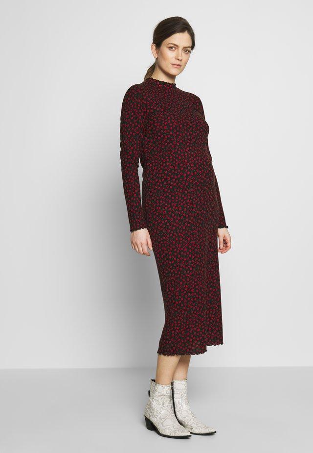MIDI - Jersey dress - red/black