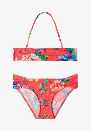 Bikini - flowers glossy red