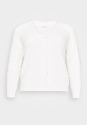 FLUFFY FEATHER V NECK CARDI - Cardigan - ivory