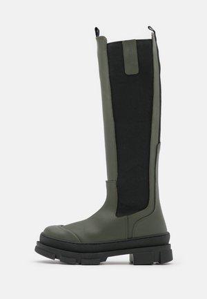 WAVE LONG - Platform boots - green