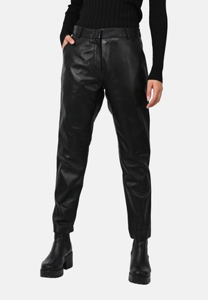 BAILEY - Leather trousers - black