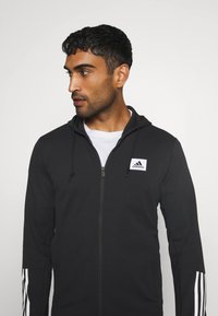adidas Performance - AEROREADY TRAINING SPORTS SLIM HOODED JACKET - Mikina na zip - black/white - 3