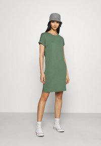 Even&Odd - BASIC - Short sleeves mini belted dress - Jersey dress - khaki - 1