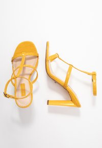 Topshop Wide Fit - WIDE FIT RIVER STRAPPY BLOCK - High heeled sandals - yellow - 3