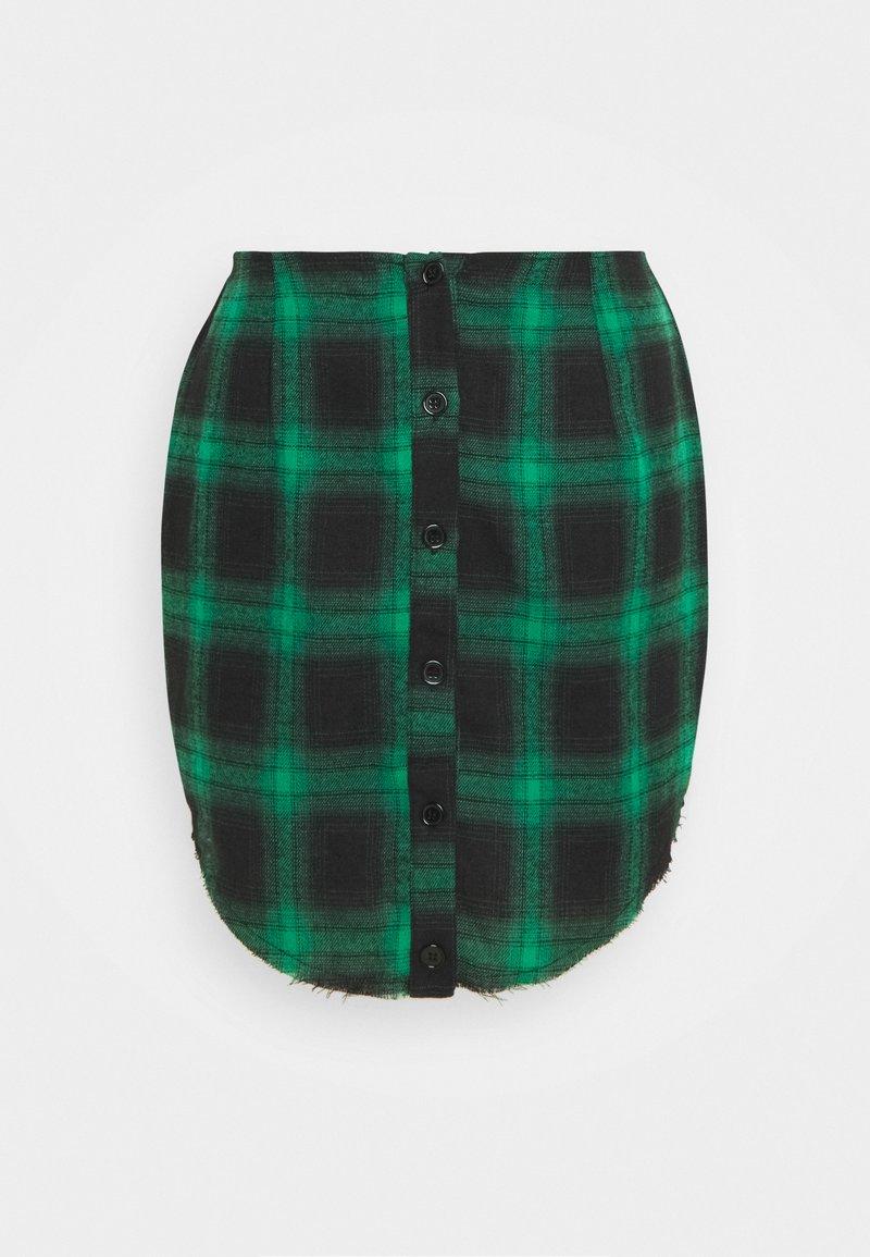 Missguided Petite - BUTTON THROUGH MINI SKIRT - Miniskjørt - green