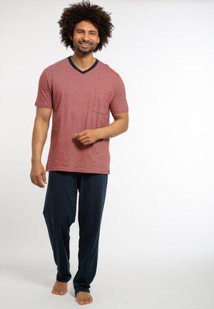 2 PACK - Pyjamas - dunkelblau / rot gestreift
