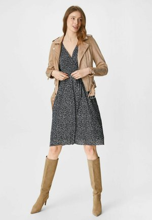Faux leather jacket - taupe