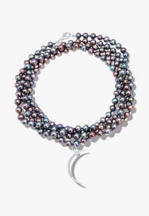 HALBMOND MIT SCHWARZEN PERLEN - Necklace - medaillon silber, perlen schwarz