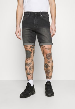 TEXAS - Szorty jeansowe - black denim