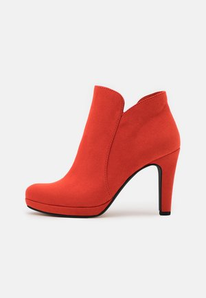 High heeled ankle boots - flame