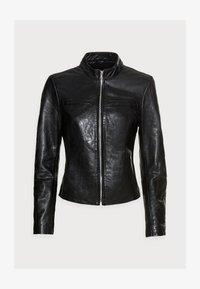 KINDLY - Leather jacket - black