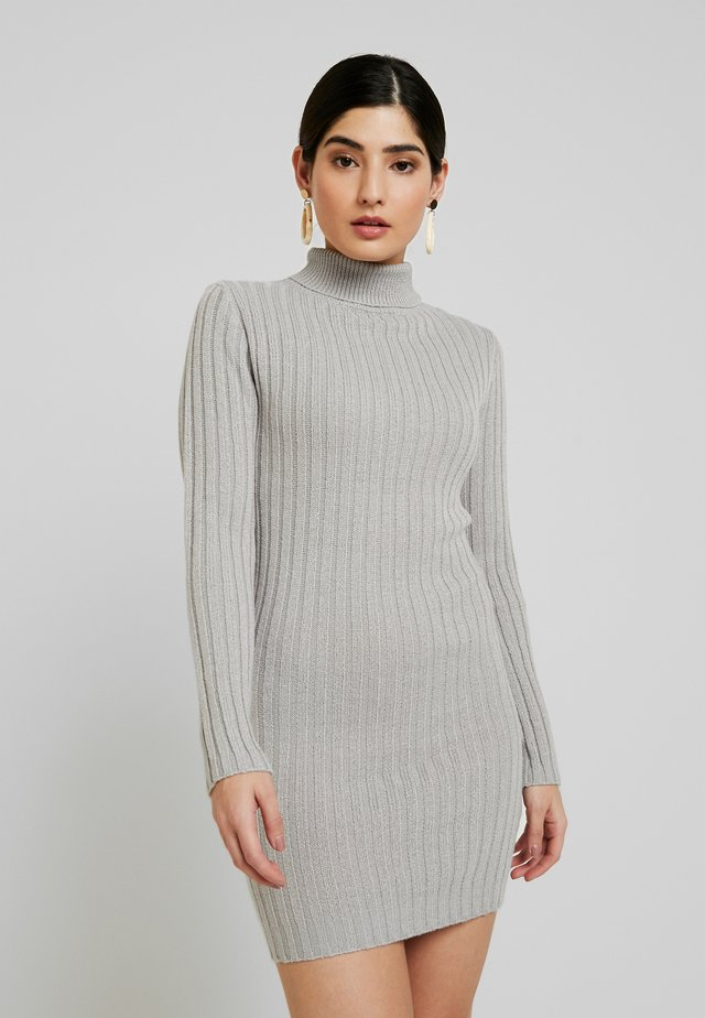 ROLL NECK JUMPER DRESS - Stickad klänning - grey