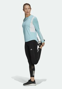 adidas Performance - OWN THE RUN 3-STRIPES RUNNING LONG-SLEEVE TOP - Long sleeved top - blue - 1