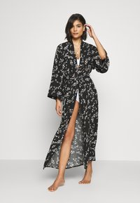Anna Field - LISHA - LONG PRINTED ROBE  - Badjas - black/gold - 1