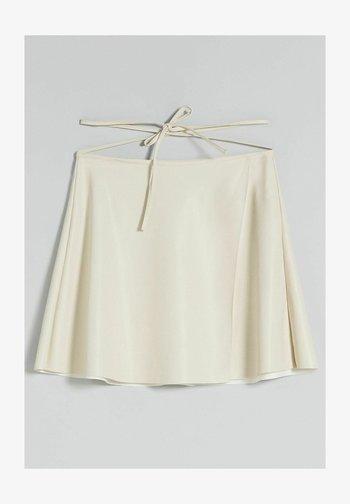 SKATER AUS KUNSTLEDER - Leather skirt - beige