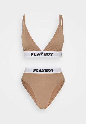 PLAYBOY SET - Triangle bra - brown