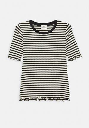STRIPE MIX TUVIANA - Print T-shirt - off white/black