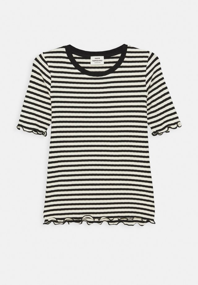 STRIPE MIX TUVIANA - T-shirt con stampa - off white/black