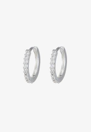 MINI PAVE HOOP EARRINGS - Pendientes - silver-coloured
