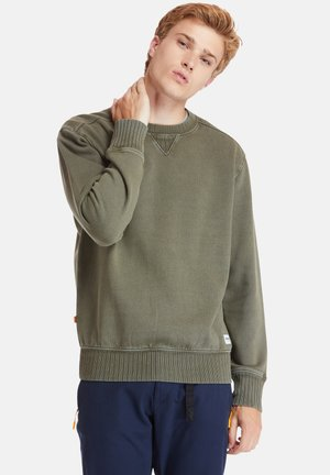 LAMPREY RIVER GARMENT DYE CREW NECK - Bluza - grape leaf