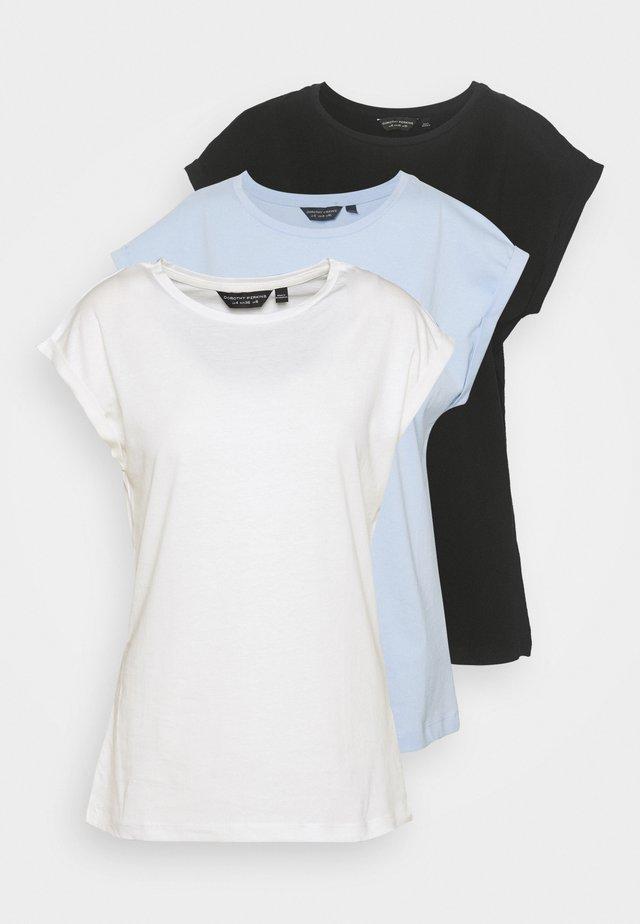 ROLL SLEEVE TEE 3 PACK - Basic T-shirt - black/white/blue